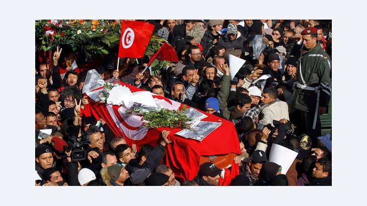 Beerdigung des ermordeten Oppositionsführers Chokri Belaid, 8. Februar 2013; Foto: Reuters