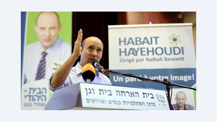 Naftali Bennett während einer Veranstaltung seiner national-religiösen Siedlerpartei Jüdisches Heim; Foto: EPA
