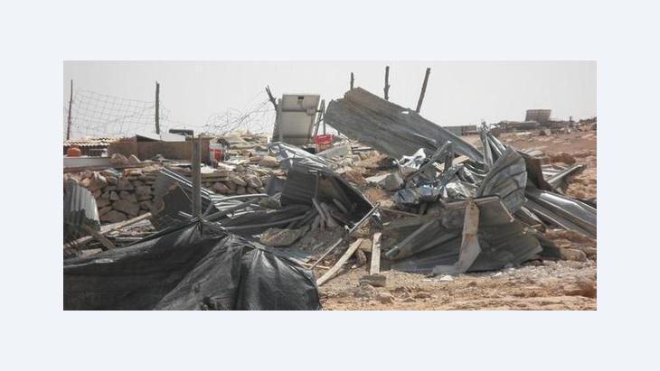 Zerstörte palästinensische Behausung in den Südhebronhügeln; Foto: DW