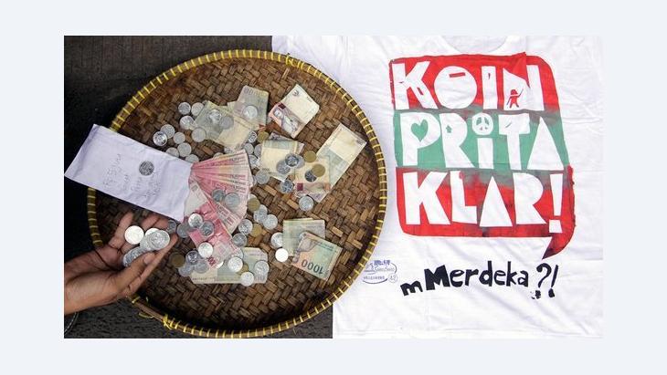 Kampagne Eine Münze für Prita; Foto: NURANI NUUTONG/AFP/Getty Images