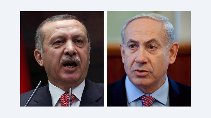 Israels Ministerpräsident Benjamin Netanjahu (r.) und der türkische Ministerpräsident Erdogan; Foto: