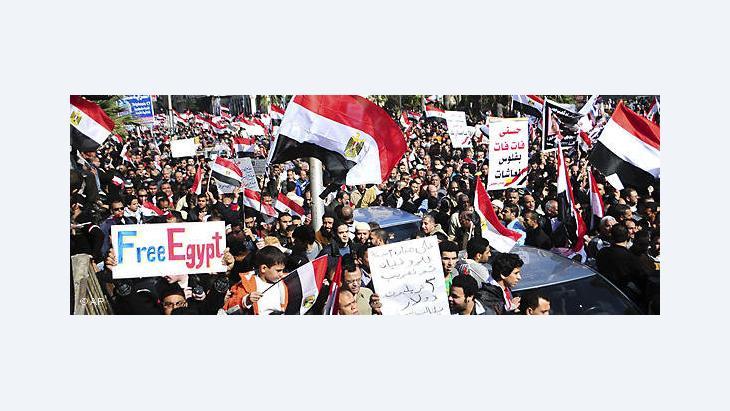Ägyptische Demonstranten während der Revolution vom 25. Januar in Kairo; Foto: AP