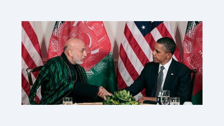 US-Präsident Obama und der afghanische Präsident Karsai; Foto: Pablo Martinez Monsivais, AP/dapd