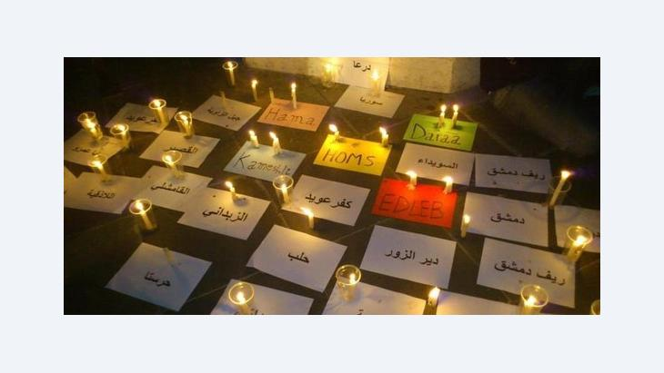 Lichterkette für die Toten des Aufstandes in den syrischen Städten; Foto: Dareen Al Omari