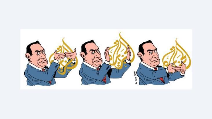 Karikatur Latuffs aus dem Jahr 2011: Mubarak zensiert Al-Jazeera im Arabischen Frühling; Foto: Latuff/wikimedia