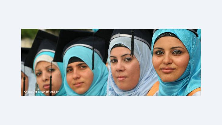 Palästinensische Hochschulabsolventinnen während ihrer Abschlusszeremonie bei Jerusalem; Foto: APA /Landov
