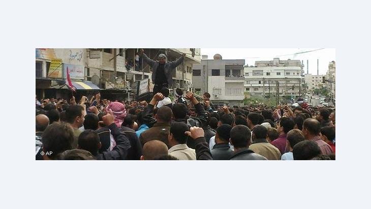 Protest gegen die Regierung Baschar al-Assads in der syrischen Küstenstadt Banias; Foto: dapd