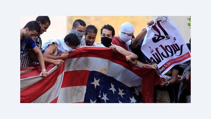 Anti-amerikanische Proteste auf dem Gelände der US-Botschaft in Kairo; Foto: Reuters
