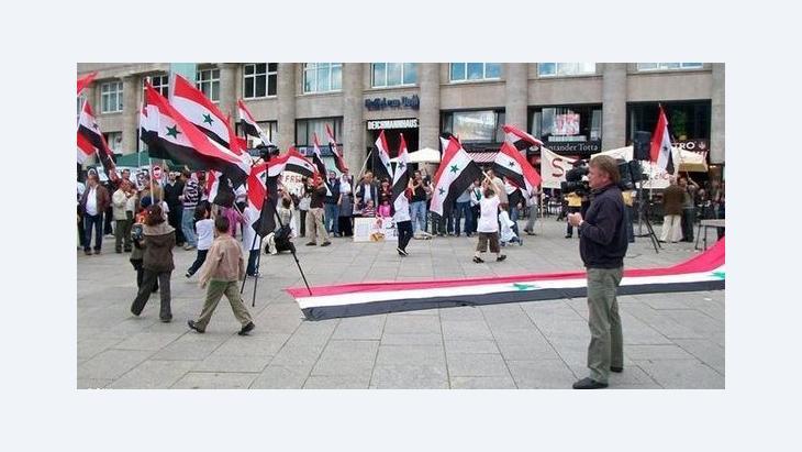 Syrische Demonstranten in Köln, Foto: Deutsche Welle