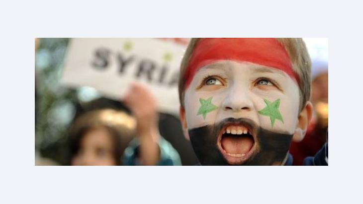 Exil-Syrer demonstrieren in London gegen Präsident Assad; Foto: AP