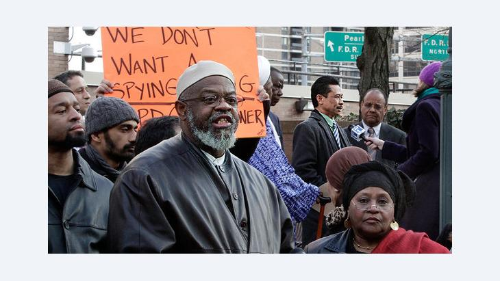 Imam Hajj Talib Abdur Rashid bei einer Demonstration in New York: dapd
