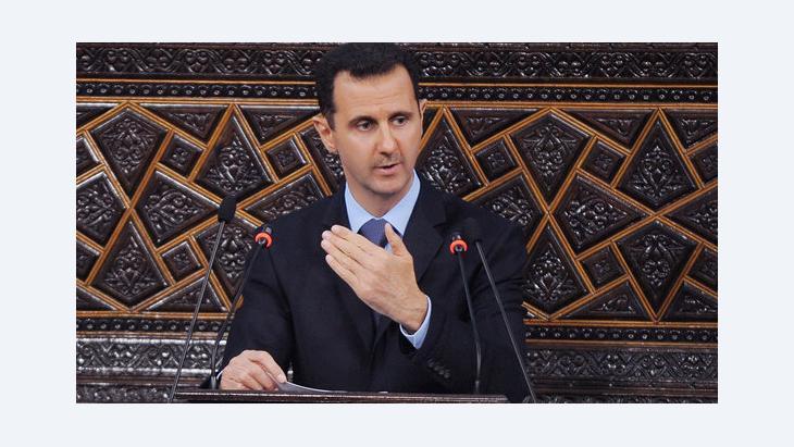 Baschar al-Assad bei einer Rede; Foto: AP