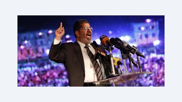 Mohammed Mursi bei einem Wahlkampfauftritt am 20. Mai 2012 in Kairo; Foto: AP