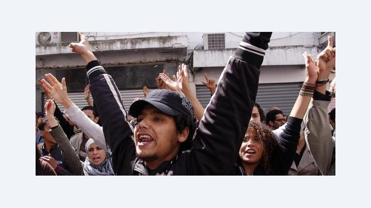 Junge Demonstranten in Tunesien im April 2012; Foto: picture-alliance/dpa