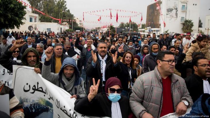 Kundgebung zum 10. Jahrestag der Revolution in Tunesien, Dezember 2020