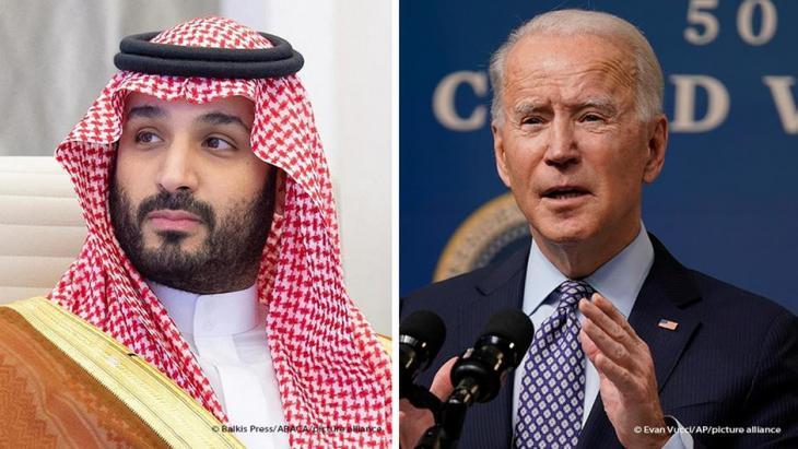 Bildkombo Joe Biden and Mohammed bin Salman; Foto: Balkis Press/Abaca/picture-alliance und Evan Vucci/AP/picture-alliance