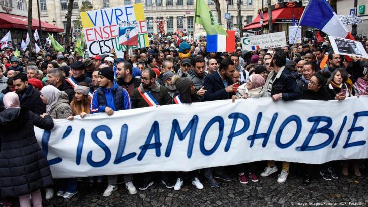 Eine Demonstration 2019 gegen Islamfeindlichkeit in Frankreich.