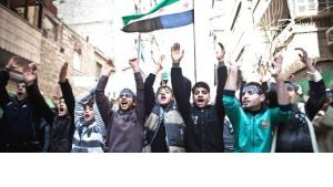 Anhänger der FSA demonstrieren in Aleppo; Foto: dpa