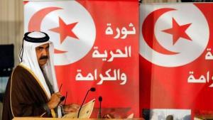 Sheik Hamad bin Khalifa al-Thani, Amir von Katar, bei seiner Rede anlässlich des Revolutionsbeginns in Tunesien; Foto: Reuters