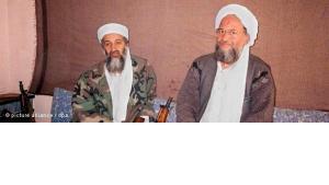 Bin Laden und Ayman al-Zawahiri in Afghanistan am 8. Novemer 2001; Foto: dpa