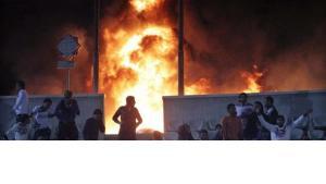 Ausschreitungen im Stadion von Port Said; Foto: dpa