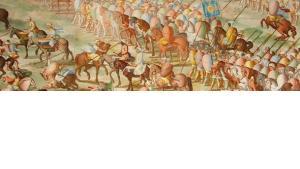 Darstellung in der spanischen Königsresidenz El Escorial: Jüdische Soldaten, die 1431 auf Seiten der Truppen von Muhammad IX., dem muslimischen Emir von Granada, in der Schlacht von La Higueruela gegen Johann II. (Kastilien) kämpfen; Foto: Wikipedia