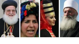 Bildcollage: Vertreter konfessioneller Minderheiten in Syrien; Foto: ddp/AP/DW