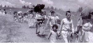 Palästinensische Flüchtlinge während der Nakba; Foto: Public Domain