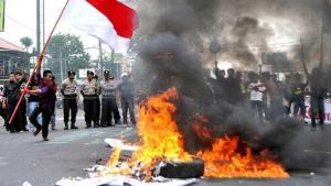 Proteste gegen Indonesiens Wirtschaftspolitik von Präsident Susilo Bambang Yudhoyono; Foto: AP
