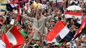 Ägyptische Demonstranten auf dem Tahrir-Platz; Foto: dpa