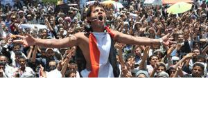 Proteste gegen Präsident Saleh in Sanaa im April 2011; Foto: picture alliance/dpa