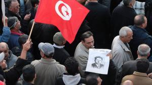 Protestveranstaltung der UGTT in Tunis; Foto: dapd