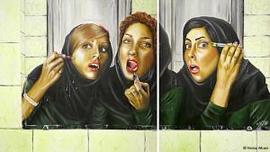 Schönheitsoperationen sind trotz strenger Moralvorschriften im Iran erlaubt. Jährlich lassen sich über 60.000 Iranerinnen beispielsweise die Nase operieren. Mit solchen grell gesteigerten Szenen aus dem Leben moderner iranischer Frauen hat sich die 1983 in Teheran geborene Künstlerin Homa Arkani einen Namen gemacht. (Foto: Homa Arkani)