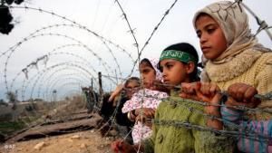 Palästinensische Kinder an der palästinensisch-ägyptischen Grenze; Foto: AP