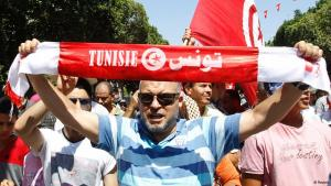 Regierungskritische Demonstranten in Tunis; Foto: Reuters