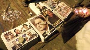 Plakate in Stapeln auf dem Tahrir-Platz; Foto: DW/M. Sailer