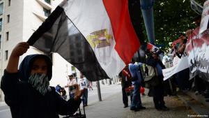 Ein Junge schwingt am 14.08.2013 bei einer Demonstration vor dem Auswärtigen Amt in Berlin eine Ägyptische Flagge. Die Demonstrierenden fordern einen Eingriff der Bundesregierung in die blutigen Auseinandersetzungen in Kairo (Ägypten). Foto: © Matthias Balk/dpa