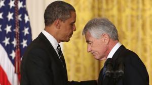 US-Präsident Barack Obama (l.) und sein Verteidigungsminister Chuck Hagel; Foto: Getty Images