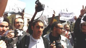 Proteste von ägyptischen Journalisten gegen Zensur und Polizeigewalt in Kairo; Foto: picture-alliance/dpa