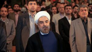 Irans Präsident Hassan Rohani an der Universität Teheran; Foto: ISNA