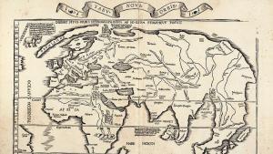 Weltkarte des Laurent Fries, basierend auf der Waldseemüller Karte von 1513; Quelle: wikimedia commons