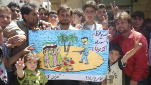 Friedliche Demonstration gegen das Assad-Regime in Kafranbel; Foto: Reuters