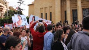 KAFA-Demo anlässlich des Weltfrauentags am 8. März in Beirut; Foto: Juliane Metzker