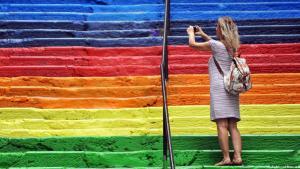 Symbol des friedlichen politischen Widerstands: Regenbogentreppe in Istanbul; Foto: AFP/Getty Images