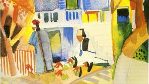 """Aufbruch in eine fremde Welt: Am 6. April 1914 bestiegen August Macke, Paul Klee und Louis Moilliet in Marseille ein Schiff und schipperten Richtung Tunesien. Klee, der die Reise geplant hatte, wollte gerne in den Orient – aber nicht allein. """"Es soll eine richtige Studienfahrt werden, wo einer den andern anregt"""", schrieb er vor Reisebeginn an Louis Moilliet. Mackes """"Innenhof des Landhauses in St. Germain"""" etwa entstand dort."""