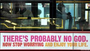 """Plakatwerbung in London auf einem Bus: """"Es gibt wahrscheinlich keinen Gott...""""; Foto: picture-alliance/dpa"""