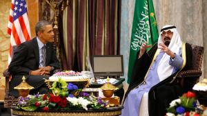 US-Präsident Barack Obama bei einem Treffen mit dem saudischen König Abdullah in Rawdat al-Khraim bei Riad; Foto: Reuters
