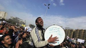 Musiker auf dem Tahrirplatz in Kairo während einer Demonstration gegen das Mubarak-Regime; Foto: AP