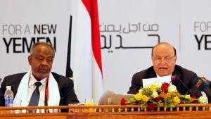 Abschlusszeremonie Nationaler Dialog im Jemen mit Präsident Abd-Rabbu Mansour Hadi (r.); Foto: Reuters