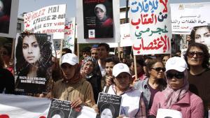 Frauenproteste am 17. März 2012 vor dem Parlament in Rabat nach dem Suizid von Amina Filali ; Foto: STR/AFP/Getty Images